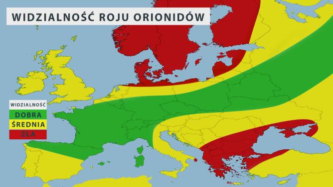 Widzialność Orionidów w nocy z soboty na niedzielę (tvnmeteo.pl za AccuWeather)