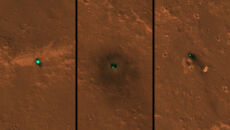 Lądownik, spadochron i osłona termiczna sondy Insight (NASA/JPL-Caltech/University of Arizona)