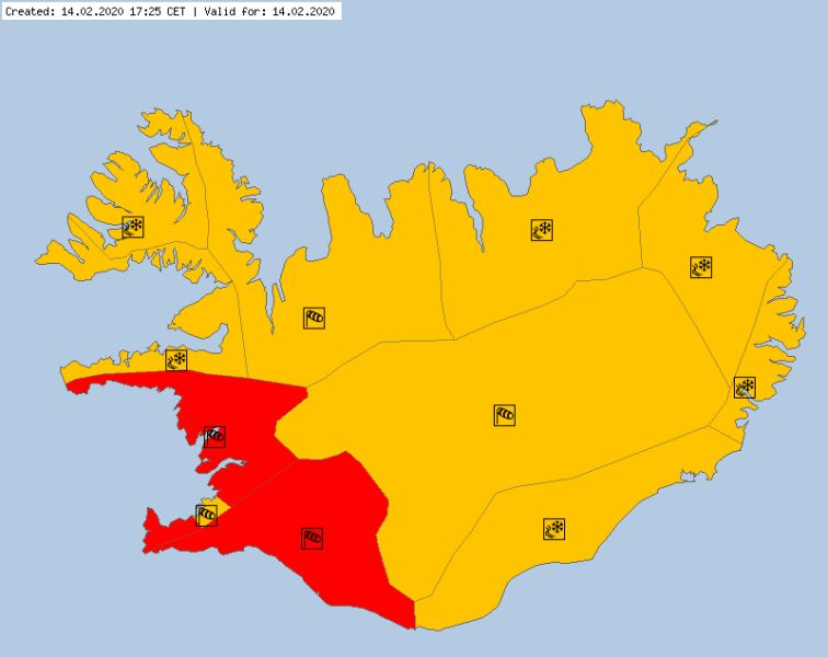 Ostrzeżenia meteorologiczne dla Islandii (meteoalarm.eu)