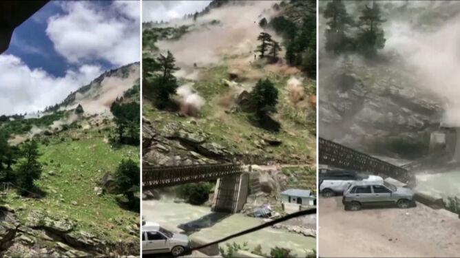 Głazy oderwały się od ściany. Zniszczone samochody, zawalił się most, dziewięć osób nie żyje