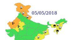 Ostrzeżenia przed niebezpiecznymi zjawiskami nad Indiami - 5 maja (IND)